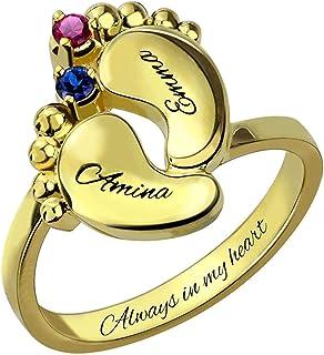 YUOTO - Anello per la madre con nome pesonalizzato, personalizzabile con 2 pietre portafortuna e 2 nome, regalo di complea...