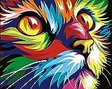 Tirzah Malen nach Zahlen mit 3X Bildschirmlupe 40 x 50cm DIY Leinwand Gemälde für Erwachsene und Kinder, Enthält Acrylfarben und 3 Pinsel - Bunte Katze (Ohne Rahmen)
