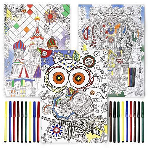 3x Puzzle de 500 Piezas para Construir y Colorear con 6 Rotuladores cada Diseño, 70x50cm   Manualidades, Actividad Creativa Divertida para Niños Adultos