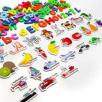Magnetic Letters and Numbers for Toddlers Vcertcpl 134pcs Refrigerator Magnets with Animal Vehicle Fruit Patterns Magnets for Fridge Homeschool Supplies Toys for 3 4 5 Year Old Toddlers