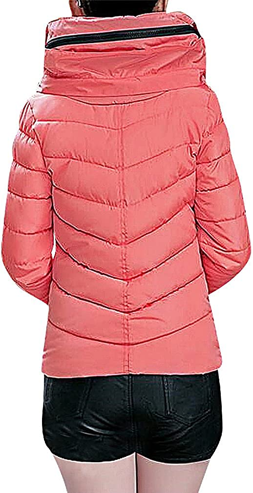 US&R Women Zip Up Quilted Pocketed Slim Short Padded Winter Hooded Jacket, Pink S,Manufacturer(L)