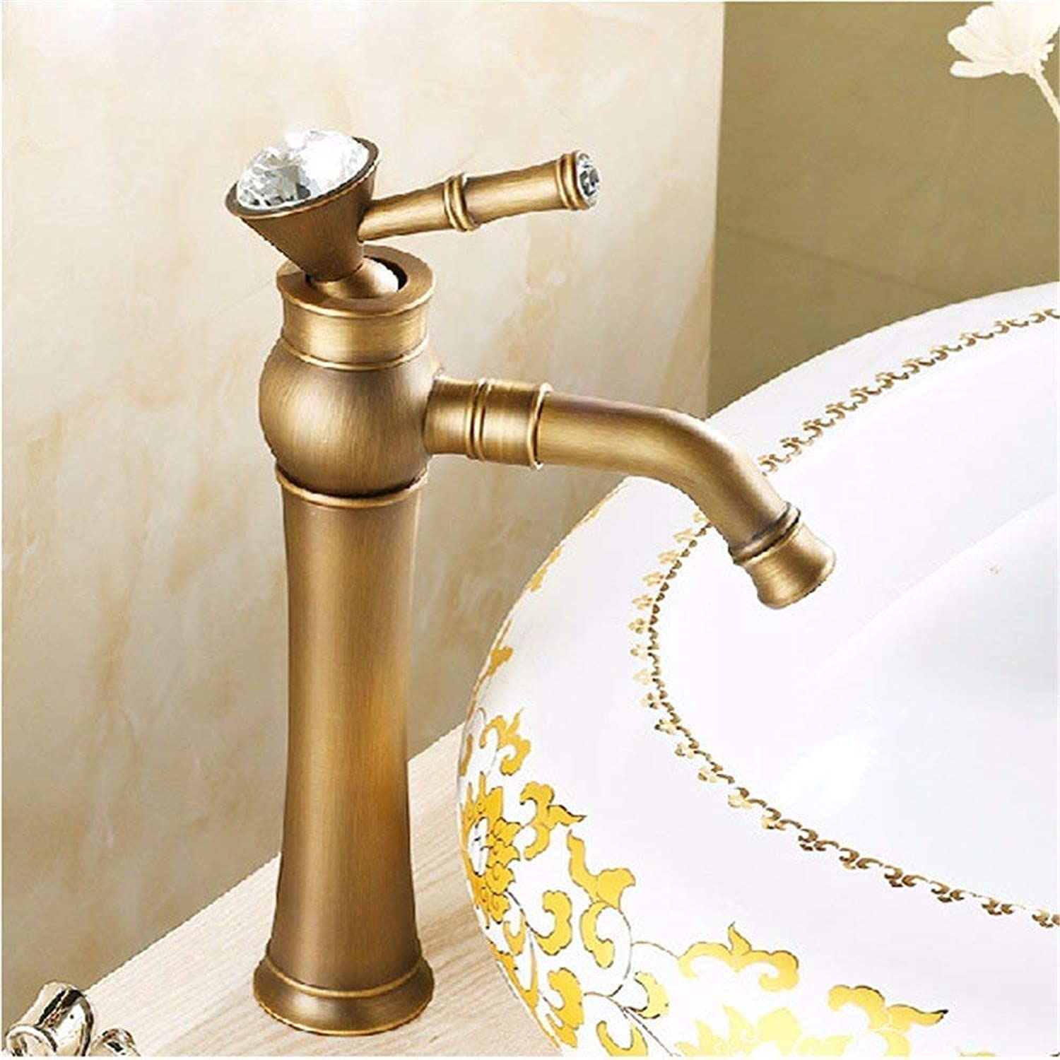 360° redating Faucet Retro Faucetvintage Basin Above Counter Basin Single Hole, Hot and Cold Water