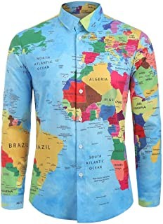 Men's Casual Shirts Long Sleeves Turn-Down Collar World Map 3D Print Top Blouse