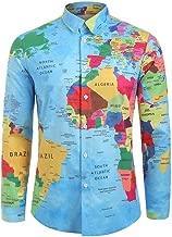 Houshelp Men's Long Sleeve Shirt Polyester top Map Print