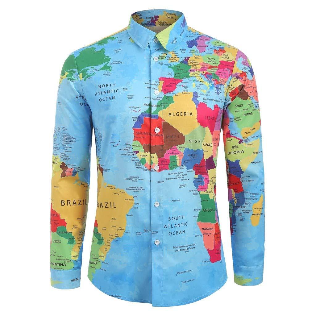 Camisa de hombre de manga larga con cuello, camisa de babero con impresión de mapa, camisa de otoño, camisetas ligeras, sudaderas ajustadas, camiseta, camiseta, blusa: Amazon.es: Iluminación
