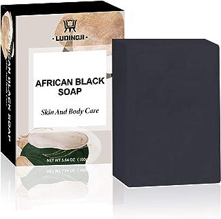 African Black Soap Bar Face Body Wash 160g Black Soap with Shea Butter Natural Vegan Men-Women