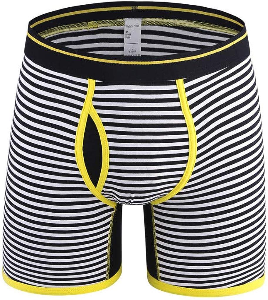 Gergeos Underpants Men Fashion Striped Comfortable 95% Cotton Underwear Plus Size Boxer Brief