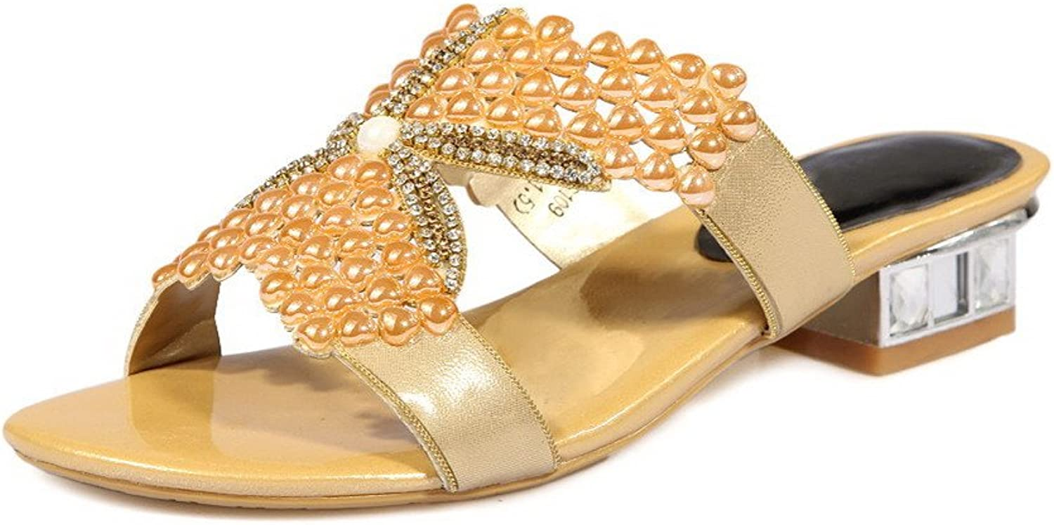 AmoonyFashion Women's Pull-on Open Toe Low-Heels Blend Materials Solid Sandals