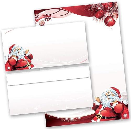 Motif-ensembles de papeterie Noël Saint Nicholas, LETTRE AU PÈRE NOËL 100 feuilles de papier à lettres et 100 envelop...