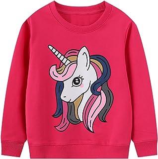 JinBei Niña Camiseta Ropa Manga Larga Sudadera Cuello Redondo Jersey Impresión de Unicornio Pull-Over con Algodón Casual T...
