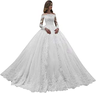 ScelleBridal 2020 Gorgeous Strapless Crystal Long Sleeve Ball Gown Wedding Dress