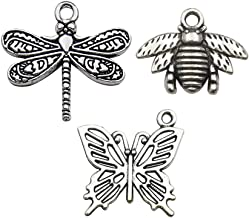 60pcs Craft Supplies Mixed Dragonfly Butterfly Bee Charms for Jewelry Making Crafting Findings Accessory for DIY Necklace Bracelet M07