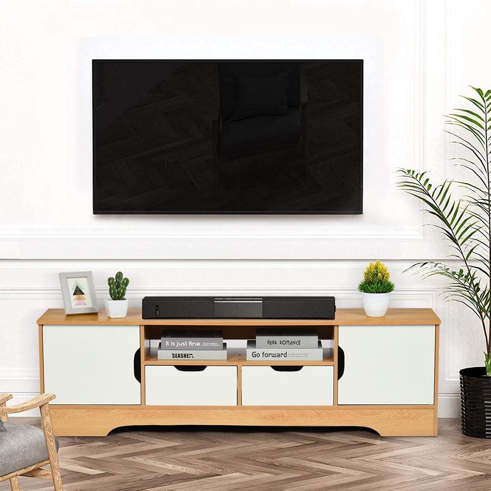 Modern TV Max 79% OFF Rare Stand for 55 Inch - and S with Drawer Wood