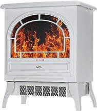 LQG Calentador de Chimenea eléctrico 1800W con Efecto de Llama, Calentador Vertical portátil para hogar/Oficina/Dormitorio,Blanco,Basic