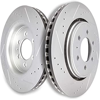 Front Rotors 6lug 2 Silver Coated Cross-Drilled Disc Brake Rotors Fits:- Expedition Navigator F-150 High-End