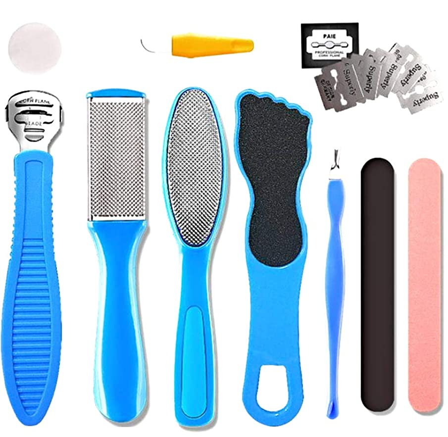 Professional 10pcs kit Home Pedicure Callus Remover Foot Corn Remover with Nail File Removing Hard, Cracked and Dead Skin Cells.