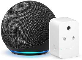 Echo Dot (4th Gen, Black) bundle with Amazon 6A Smart Plug - Easy Set-Up