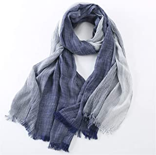 NJTSXLM 75 * 205cm Winter Scarf Men Warm Soft Tassel Gray Plaid Woven Wrinkled Cotton Men Scarves (Color : Blue)