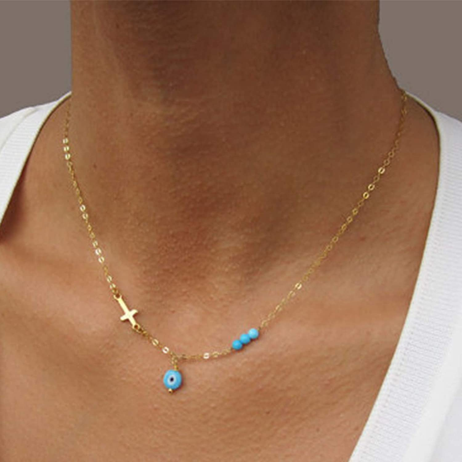 Sttiafay Boho Evil Eye Pendant Necklace Dainty Cross Clavicle Chain Turquoise Bead Choker Necklace Chain Jewelry for Women Girls