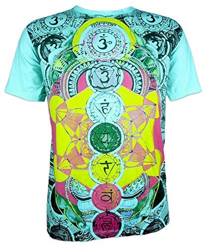 Mirror Herren T-Shirt - Die 7 Chakras PSY Yoga Aura Chakren Esoterik Ethno Goa Trance (Mint M)