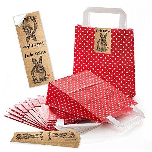 25 kleine rote Papiertüten Osternest gepunktet Henkel Boden Ostertüten + Osteraufkleber vintage Hase Osterhase Ostern Herz rot Verpackung Geschenke Deko