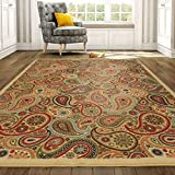 Ottomanson Ottohome Collection Contemporary Paisley Design Non-Skid (Non-Slip) Rubber Backing Modern Area Rug, 5' X 6'6', Beige