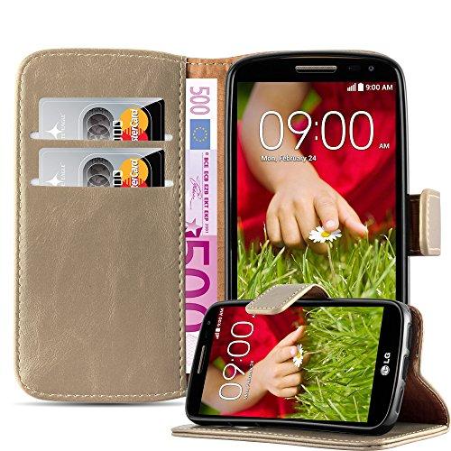 Cadorabo Hülle für LG G2 Mini in Cappuccino BRAUN – Handyhülle mit Magnetverschluss, Standfunktion & Kartenfach – Hülle Cover Schutzhülle Etui Tasche Book Klapp Style