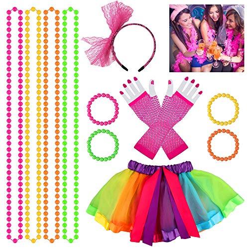 Heqishun 80s Disfraces Accesorios de Disfraces Adultos para Bailar de Disfraces de los 80 Disfraz para Mujeres Niñas 80s Tutú Fantasía Set de Vestuario de 80s Fiesta de los 80