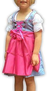 donnerlittchen! Kinder Mini-Dirndl inklusive Dirndl-Bluse und Schürze Hellblau/Pink