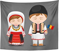 Emvency Tapestry Romanians in National Dress with Flag Man and Woman Traditional Costume Travel to Romania People Flat Home Decor Wall Hanging for Living Room Bedroom Dorm 50x60 Inches