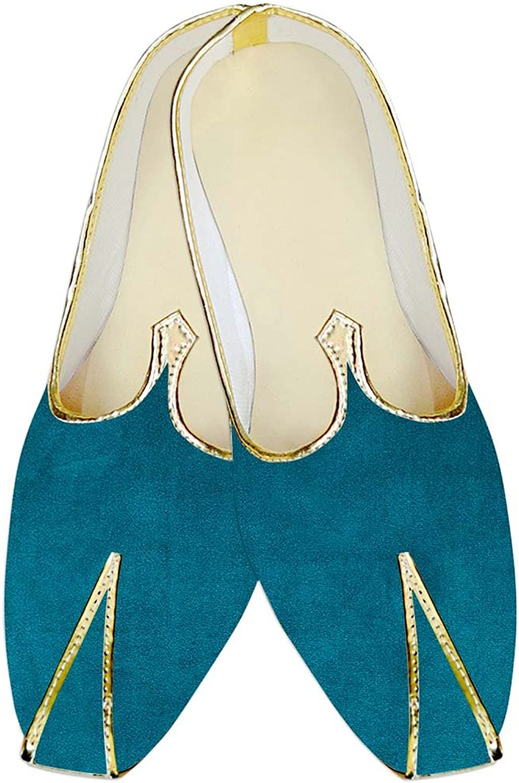 INMONARCH Mens Teal Velvet Wedding Mojari shoes MJ13963