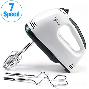 Hand Mixer Electric, Miracase 7-Speed Hand Mixer with Turbo Handheld Kitchen Mixer Includes Beaters, Dough Hooks and Storage Case, White