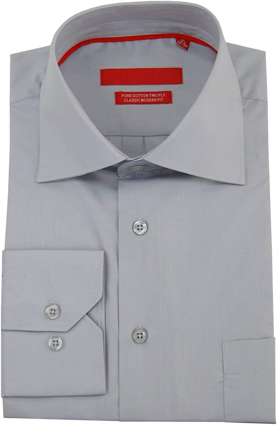 DTI GV Executive Men's Modern Spread Collar Barrel Cuff Cotton Dress Shirt