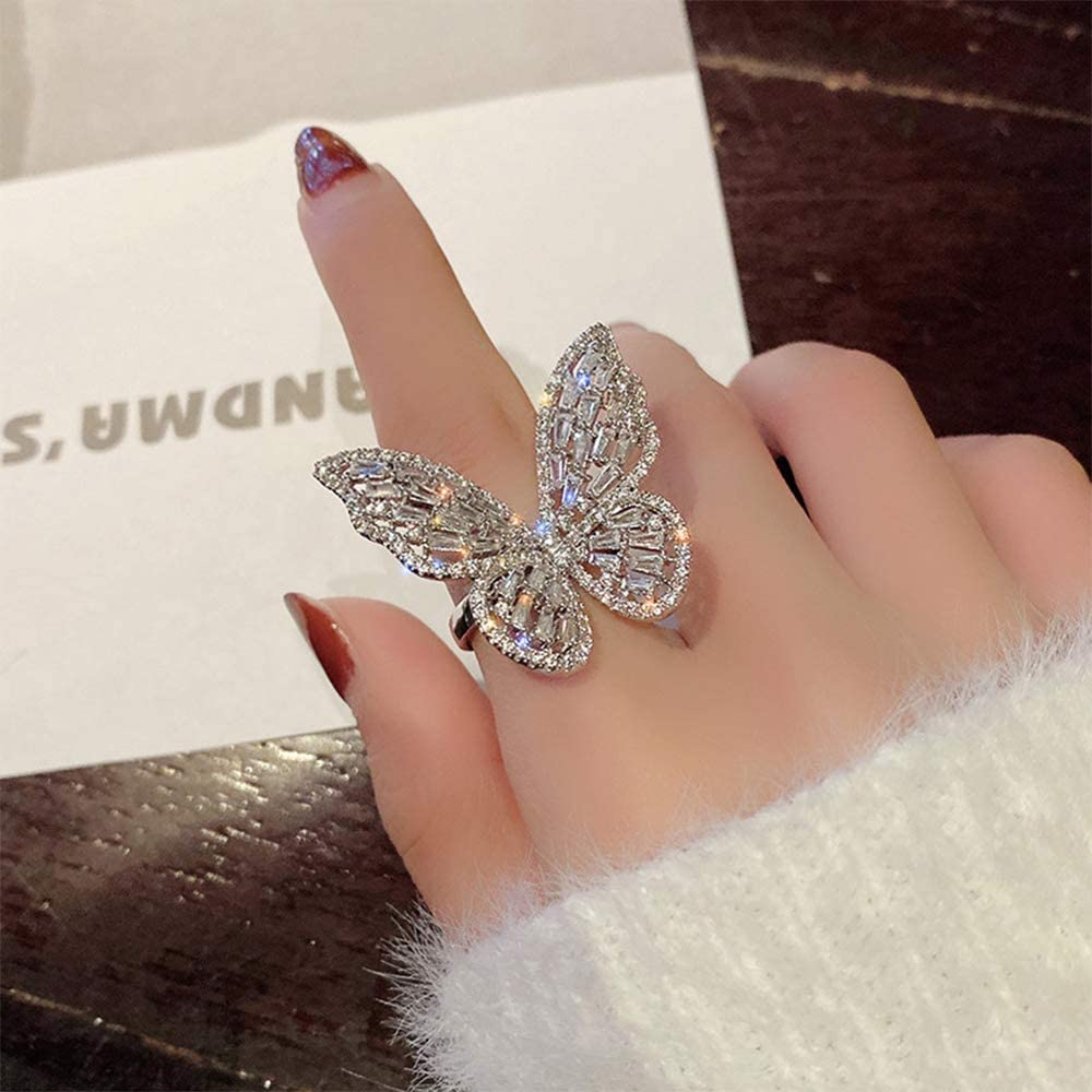 Aimimier Cubic Zirconia Butterfly Ring Sparkling Crystal Bow-Kno