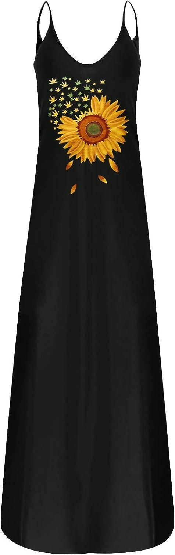 Tavorpt Maxi Dresses for Women Casual, Women's Deep V Daisy Print Pocket Summer Long Dress Beach Sundress Party Dress