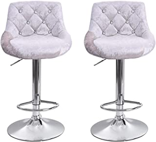 JinJin Best Office Bar stools Height Adjustable Flannel Swivel Back Kitchen Counter Stools Bar Dining Chairs Set of 2 Height Swivel Stool (Silver)