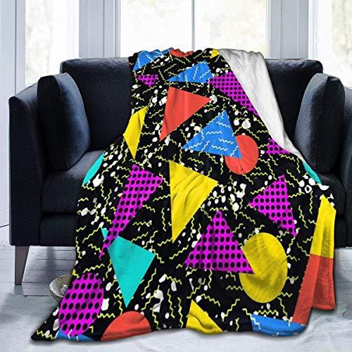 jrtyjrdtyj Decke werfen Retro Vintage 80s Memphis Flannel Fleece Microfiber Throw Blanket Extra Soft Brush Fabric Winter Warm Sofa Blanket