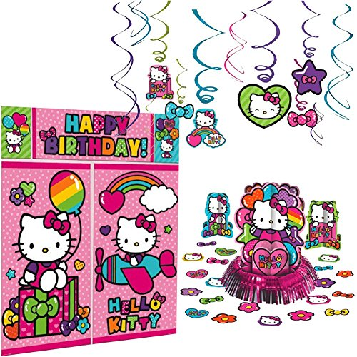 Hello Kitty Rainbow Decorations Birthday Party Supplies Pack | Hanging Swirls, Scene Setter, and Table Decorating Kit | Have The Best Hello Kitty Party With This Rainbow Hello Kitty Party Set!