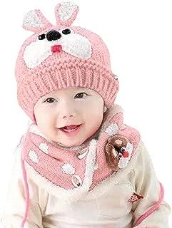 WOCACHI Toddler Baby Knitted Crochet Fleece Beanie Cap Scarf 2PCS Sets Infant Fluffy Rabbit Bear Winter Warm Hats Set