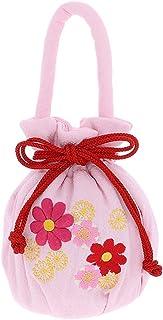 [ 京都きもの町 ] 七五三 巾着単品「薄ピンク お花の刺繍、押絵」桃の節句、ひな祭り