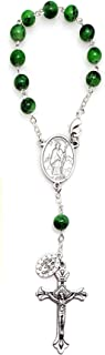 Elysian Gift Shop Saint Patrick Irish One Decade Auto 7mm Round Glass Green Beads Rosary- Travel Protection Rearview Mirror Accessory - Includes St Christopher Prayer Card