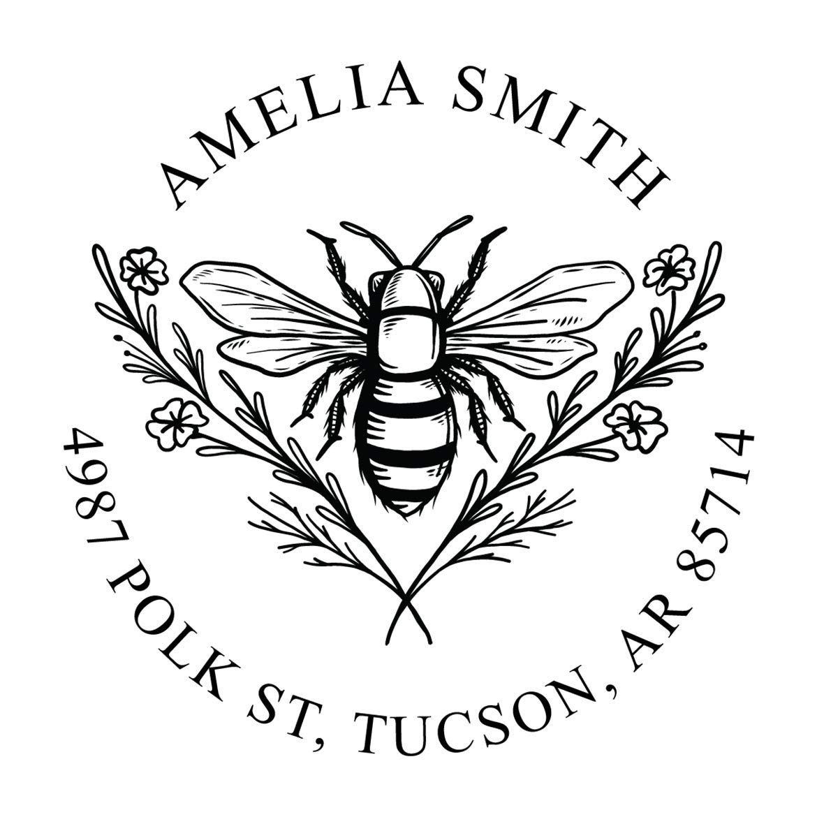 Bee Address outlet Stamp Special price for a limited time Round Inking Personalized Self Stamps