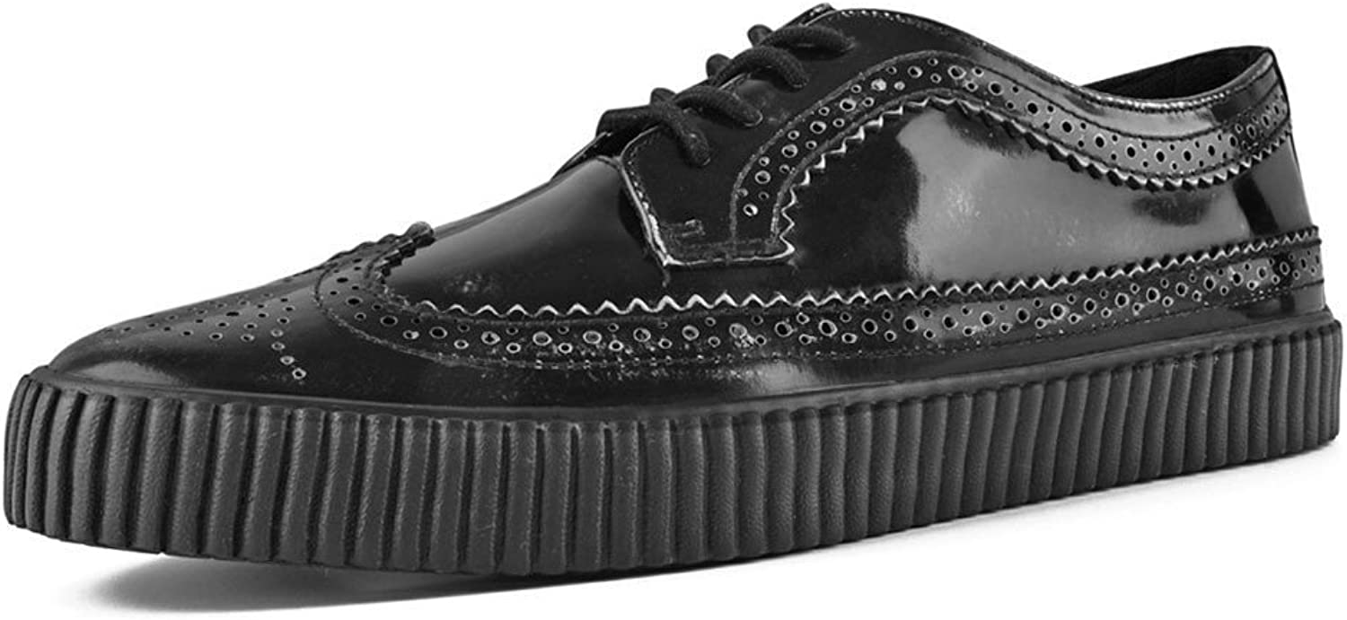 T.U.K. shoes A9248 Unisex-Adult Creepers, Black Rub Off EZC Brogue shoes