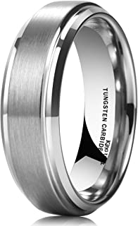 King Will Basic Men's 7mm Tungsten Carbide Ring Diamond Finish Matte Wedding Engagement Band