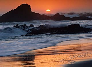 Posterazzi Poster Print Collection Crashing Surf on Rocks At Sunset Point Piedras Blancas California Tim Fitzharris, (18 x 24), Multicolored