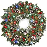 TURNMEON 30 Inch Christmas Wreath with Lights Christmas Decoration Battery Operated Pre-lit Spruce Wreath Garland with 80 Colorful LED Light Red Berries Pine Cones and Snowflakes Silver Bristles