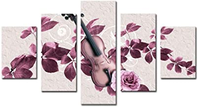 OJILKT D 5 Panels Purple Flowers and Violin Print Painting Modern Canvas Wall Art for Wall Decor Home Decoration Artwork-Size2-Framed