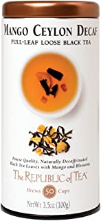 The Republic of Tea Decaf Mango Ceylon Black Full-Leaf Tea, 3.5 Ounces / 50-60 Cups