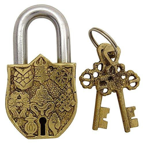 Messing Gold Ton Metall Ausgangsdekor Vishnu Symbol Vorhängeschloss Handmade Dekorative Verschluss