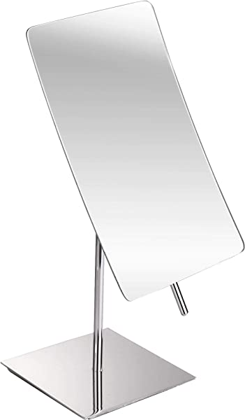 5X Magnified Premium Modern Rectangle Vanity Makeup Mirror 100 Guarantee Portable Polished Chrome Contemporary Finish Adjustable Easy Positioning Best Luxury Quality Magnifying Beauty Mirror